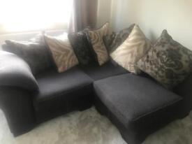 Corner sofa DFS half leather scatter back cushions