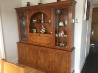 Beautiful yew wood furniture coffee table glass fronted book case and display unit