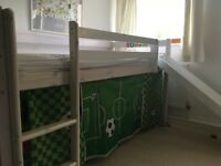 Thuka Mid Sleeper With Slide - White Washed Solid Pine With Football Fabric