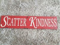 'Scatter Kindness' - Red wooden wall plaque
