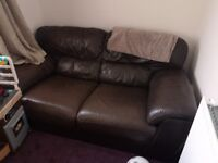 Brown Leather Sofa - Chirk