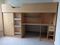FOR SALE: BEECH EFFECT HIGH SLEEPER CABIN BED