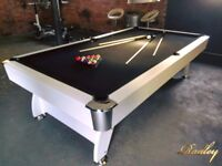 7FT Pool Table MDF Wood Bed White Finish with Black Cloth Brand New