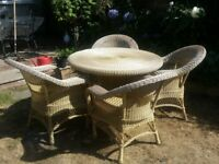 Conservatory or Garden Furniture - Faux rattan glass-topped circular table & chairs with cushions