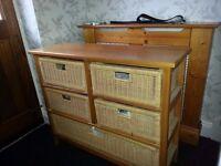 Pine storage unit with pine wicker baskets x 5