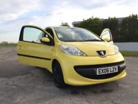 2006 Peugeot 107, Yellow, cheap tax and fuel