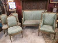 Vintage Edwardian Style Lounge Seat 5 Piece Suite Baroque Satin Fabric Wood