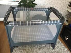 Mothercare green tartan check easy to put up travel cot