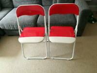 Pair of white & red glossy folding chairs excellent condition