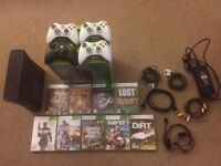 Xbox 360 Elite 250GB black with 9 games & 4 controllers