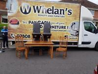 Indian wood dining room table with 4 leather chairs & 2 wood chairs £125