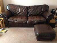 Leather 3 piece suite and matching footstool