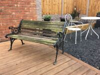 Ornate Lions Head Cast Iron Garden Bench For Restoration 2 Available- can deliver