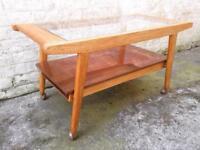 Vintage 1950s oak glass copper coffee table mid century retro