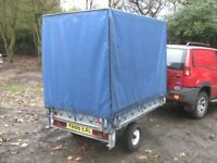 VERY RARE 6X4X5 GALVANISED FLATBED DROPSIDE COVERED TRAILER..........