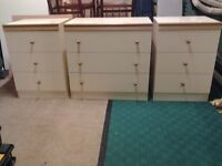 Free Bedside Cabinets x 2 and Chest of Draws good condition