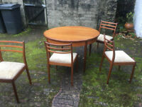 G-plan gplan Teak dining extending table and chairs Glasgow vintage retro 60s 70s