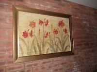 Large gold framed flower picture, 41 inches wide X 19 inches. Very good condition.