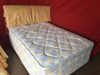DOUBLE DIVAN BED WITH SUEDE HEADBOARD AND MATTRESS ,CAN DELIVER