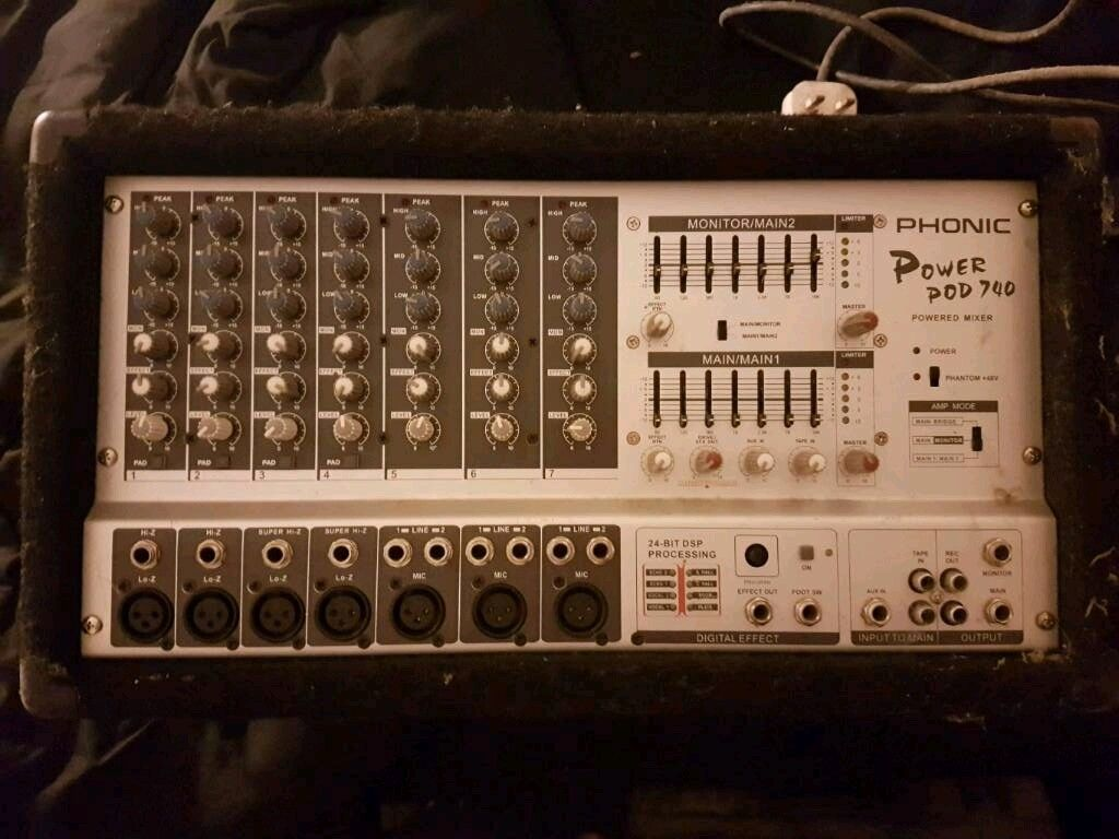 Phonic - Power Pod 740, Powered Mixer, 7 Channels