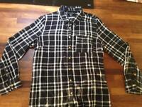 Women's black plaid shirts & white vest top