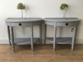 A pair of Ducal pine Victoria half moon console hall occasional bedside tables