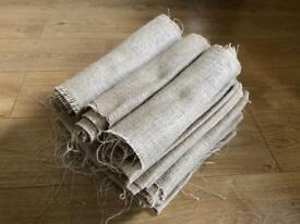 Hessian material wedding table runners
