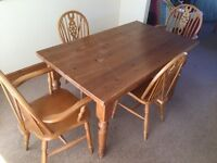 Pine table and chairs.