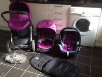 Purple Oyster 3 in 1 Travel System & Purple Maxi Cosi Car Seat