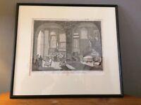 Lovely Victorian Print of Upholsterers at Work (Framed)
