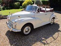 Morris Minor 1000 Convertible. Finished in Old English White. Immaculate.