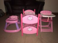 Baby doll bunk beds, high chair, baby walker
