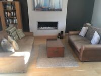 2 x brown leather sofas. Originally purchased from house of Fraser. Have an aged look. Good quality