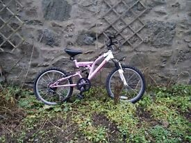 Lovely Girls Mountain Bike - 20inch wheels - 6 gears, front and rear suspension