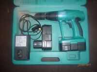 a used rolson 24n cordless drill 2 speed with 2 batteries & charger in case