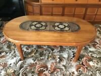 Teak coffee table with tiled centre