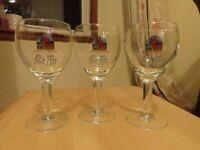 3 Leffe beer glasses