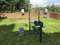 Weights Bench with Bar and Bumbells