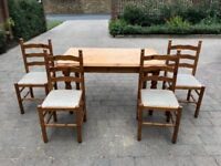 Pine Table with four chairs