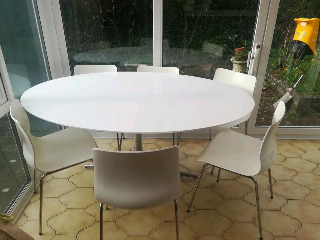 White Oval Dining Table And 6 Chairs In Brixham Devon