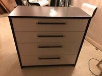 4 drawer chest of drawers and matching 3 drawer bedside table-dark wood and cream gloss, ex cond