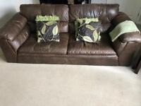 Dark brown leather sofas