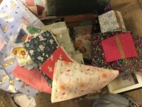 Large collection of craft items, brand new fabrics, paints, buttons, box frames etc...