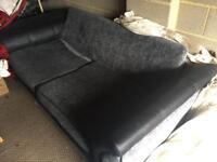 Dark grey Mix leather and fabric sofa