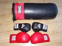 Lonsdale punch bag and gloves size medium - pair of BBF 14 oz large gloves - bargain