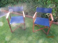 Pair of collapsible outdoor directors deck chairs USED