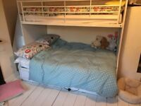 Lovely white small double bunk bed with steps and cupboard space