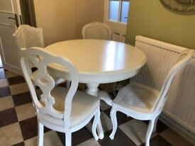 solid wood round white table with 4 chairs