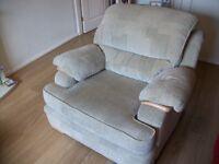 DFS Armchair and storage pouffe