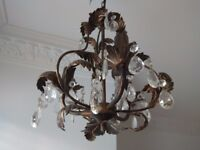 Vintage Tole Chandelier decorated with leafs and crystal/jewel pendants Bhs - British Home Stores